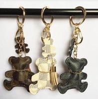 modeschmuck schlüsselring großhandel-Neue mode! Schlüsselanhänger Zubehör Quaste Schlüsselanhänger PU Leder Bär Muster Auto Keychain Schmuck Tasche Charme