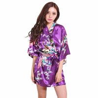 lila chinesischen stil kleider großhandel-Marke lila weibliche gedruckte Blumen Kimono Kleid Kleid chinesischen Stil Seidensatin Robe Nachthemd Blume S M L XL XXL XXXL