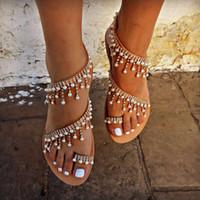 ingrosso sandali in cinturino alla caviglia in rilievo-2019 donne sandali della perla Handmade tallone piattaforma estiva cinturino alla caviglia Open Toe Sandali donna Back Strap Designer sexy scarpe da spiaggia