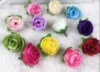 fleurs en tissu fait main en soie achat en gros de-Fleurs de décoration de bricolage touche réelle mini rose camélia fleur bourgeon fleurs artificielles fête de mariage affichage fleur