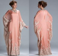 Wholesale arabian sexy dresses for sale - Group buy 2019 Plus Size New Chiffon Kaftan Dubai Arabian Evening Dress Long Sleeves Appliques Lace Fitted Muslim Mother of the Bride Dresses cheap