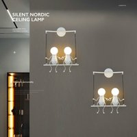 Wholesale living room swings for sale - Group buy Children s Creative Wall Lamp Simple Modern Living Room Bedroom Bedside Lamp Corridor Wall Lights for Home Villain Swing