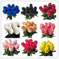 schwarze lila rosen großhandel-Real Touch Rosen Schwarz-Rosa-Blau Rose Rot Weiß Gelb Lila Pu Rose für Hochzeitsfest Künstliche dekorative Blume 14 Farben J190711