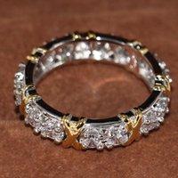 gold gefüllte zirkonia-ringe groihandel-UphotWholesale Beruf Luxuxschmucksachen 10KT Weißgold Zirkonia CZ-Diamant-Edelstein-Frauen Hochzeit Cross X-Band-Ring-Geschenk-Filled