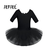 Wholesale costumes for teenagers online - 4 Color Teenager Child Short Sleeve Cotton Ballet Tutu Kids Costumes Gymnastics Leotard For Girls Dancing Class Ballerina Dress