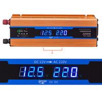 convertidor de ca voltios al por mayor-Freeshipping 2200W Automóviles Inversor de corriente DC 12V CA 220V Cargador para automóvil Convertidor de 12 voltios a 220 voltios USB 5V 1A 50Hz CY894-CN
