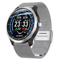 relógio elegante lemfo venda por atacado-N58 ECG PPG relógio inteligente com eletrocardiógrafo ecg display holter heartrate monitor de pressão arterial mulheres pulseira inteligente pk DZ09 GT08