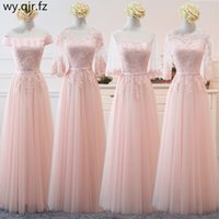Wholesale net sleeves wedding dress resale online - NCG03 Lace up Peach sand Net yarn Long Bridesmaid Dresses new spring women wedding party prom bridal dress