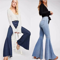 glocke bodendehnung großhandel-Designer neue Jeans für Frauen Hosen ausgestellte Jeans weites Bein Super Stretch Jeans Bell Bottom Jeans High Rise 90er Jahre Stretch Denim Hose
