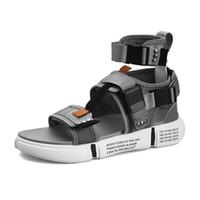 sandales de gladiateur masculin achat en gros de-2019 Été Hommes Haute Chaussures Gladiator Sandals Designers Plate-forme Confortable Plage Sandales Mâle Toile Hommes Sandales