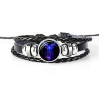 zodiac sign bracelets großhandel-12 Sternzeichen Armband Männer Frauen Punk Leder Armband Konstellation Steinbock Sternzeichen Schmuck für Geburtstagsgeschenk