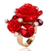 natal da resina da porcelana venda por atacado-Mulheres americanas européias jóias Resina anel de flor festa de noivado de casamento de aniversário de natal festival presente