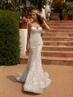 Wholesale silk chiffon sweetheart wedding dress resale online - Sexy New Long Mermaid Wedding Dresses Sweetheart Neck Sleeveless Court Train Appliques Lace Covered Button Back Bridal Dresses Vestidos