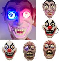 maskeli makyaj toptan satış-Led Işık Cadılar Bayramı Korku Palyaço Vampir Göz Maskesi Maske Cosplay Kostüm Tema Makyaj Performansı Masquerade Tam Yüz Parti Maskesi HH9-2407