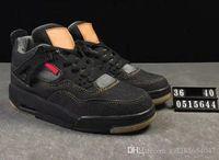 ingrosso il formato degli uomini 36 dei jeans neri-Top Quality 4 NRG Jeans denim Travis Jean Scarpe da basket per uomo e donna Sneakers sportive 4S Nero Blu Taglia 36-47