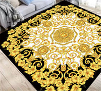 mode boden matte großhandel-Volle goldene Blumen-Druck-Matten-Mode-Limousine verzieren Foyer-Halle-rutschfeste Boden-Teppiche Deluxe verdickten Teppich