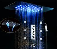 ingrosso doccia del corpo principale-38X58 CM Rainfall Bathroom Shower Faucet Set 64 colori Telecomando Cambia colore led Soffione doccia Bagno Doccia Valvola Spa Body Jet Set