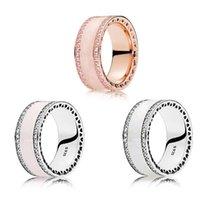 joyas de plata esterlina rosa anillo al por mayor-Anillo de las señoras de los anillos de color rosa esmalte blanco de lujo plata de ley 925 corazones radiantes anillos sintético joyería Espinela Fit Pandora Plata
