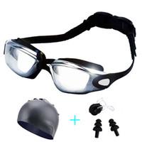 gafas protectoras al por mayor-Gafas de natación unisex A prueba de agua Antivaho Protección UV Surf Natación Gafas Tapas Tapones para los oídos Nariz Clip Set
