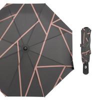 ingrosso ombrelloni aperti automatici-Ombrello da viaggio Susino Modern Mosaic Black Pink Completamente automatico Open Pongee Compact Auto Open Chiudi Ombrello pieghevole