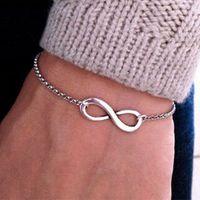Wholesale heart lobster clasp chain bracelet online - Cross Infinite Bracelet Bangle Charm Chain Bracelets Jewelry Popular Plating Gold Metal for Women High Quality Color DHL