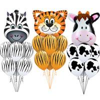 hayvanat bahçesi partisi toptan satış-Kaplan Zebra Inek Hayvan Hava Helyum Lateks Balon Çocuk Hediye Doğum Günü Partisi Dekoru için Hayvan Zoo Tema Malzemeleri Oyuncaklar