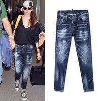 ingrosso dimensione 26 jeans skinny donna-Stile europeo 2019 vendita calda donne blue jeans strappati jeans buco sbiancato femminile jeans dipinti dot moda formato di alta qualità 26-30 per la signora