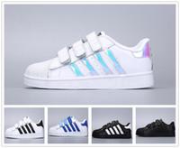весенние зимние кроссовки оптовых-Adidas Superstar Smith Allstar Детская обувь мальчиков девочек кроссовки 2018 весна осень зима новое прибытие мода супер звезда подростковая повседневная обувь детская обувь