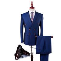 синий костюм оптовых-Double Breasted Suit Men Slim Fit Wedding Suits For Men Black Royal Blue Royal Blue Tuxedo Jacket+Pants+Vest