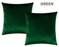 almohadas de lujo del hotel al por mayor-Funda de Almohada de oro Decoración de Terciopelo Hogar Decorativo Gris Gris Almohada Cojín Para Dormitorio Sofá Tela de Lujo Verde
