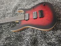Wholesale eye guitar resale online - CM Duvell Elite Trans Dirty Red Matte Eye Poplar Burl top Electric Guitar Maple Neck Ash Body Black Hardware Locking Tremolo Bridge