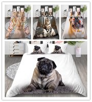 Wholesale hot 3d bedding set resale online - 3D Pet Animal Printing Bedding Sets Hot Sale Home Textile Soft Bed linens sets Weekday Gifts For Girls Boys Adults Pillowcase