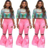 sıcak yaz kız kot toptan satış-Sıcak Pembe Delik Kadın Kız Kot Yırtık Kot Yüksek Bel Flare Jeans Bell Alt Rahat Pantolon Tam Boy Yeni Yaz sonbahar