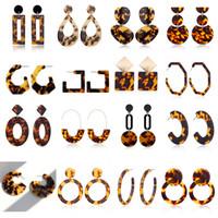 Wholesale ear stud long for sale - Group buy New Designer Tortoise Color Leopard Print Acrylic Acetic Acid Sheet Geometric Circle Square Long Drop Earrings Hot Animal Ear Stud for Women