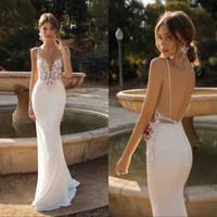 Wholesale sexy wedding dresses online - Custom Made Mermaid Backless Wedding Dresses Plunging Neck Beaded Beach Lace Bridal Gowns Bohemian Plus Size Vestido De Novia