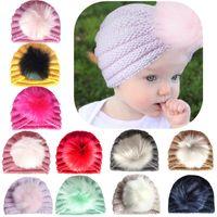 örme şapka kafa bandı toptan satış-Bebek Örgü Şapka Bantlar Kış Sıcak Pom Şapka Çocuk Kulak Koruma Örme hairbands Yumuşak Şeker Renk Bebek HHA801 Caps
