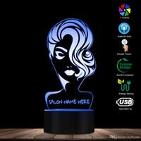 saç kesimi salonları toptan satış-Özel Ad Güzellik Salonu 3D LED Gece Işığı Kuaför Moda Kız Kişiselleştirilmiş 3D Gece Lambası Kuaför Saç kesimi LED Masa Lambası