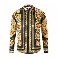 chemies schlanke passform großhandel-Luxus Männer Blume Kleid Hemd Gedruckt 3D Hemd Slim Fit Männliche Langarmshirts Chemise Homme