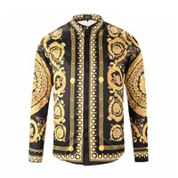 3d цветочные платья оптовых-Name Brand Luxury Men Flower Dress Shirt Printed 3D Shirt Slim Fit Male Long Sleeve Shirts chemise homme Plus Size 9187