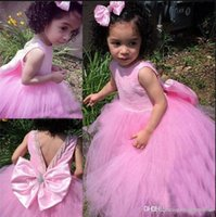 Wholesale princesses dresses for little girls for sale - Group buy Sweet Little Girls Birthday Party Gowns with Big Bow Beading New Long Tulle Flower Girl Dress For Wedding Custom Made Prom Dress