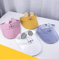 Wholesale visor for sale - Cute Empty Top Sun Hats Adjustable Girls Boys Visors Cap Cotton Fashion Children Holiday Stripe Cute Cat Elastic Hat TTA772