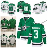camisa verde de john venda por atacado-2019 John Klingberg Dallas Stars Estrelas Hockey Jerseys Mens baratos Custom Name Home Green # 3 John Klingberg costurado hóquei camisa S-XXXL