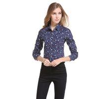 modelos tops largos al por mayor-Tendencia de la moda 2019 nuevos modelos de mujeres calientes de alta calidad Mujeres Tops de manga larga camisa de impresión floja ocasional tendencia de la blusa