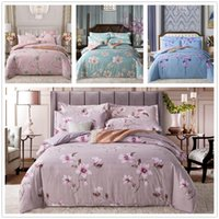Wholesale red flower bedding sets resale online - Soft Lovely Bedding Set Single Double King Size American Style Home Bedclothes with Golden Flowers of Bedspreads