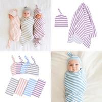 burgundische bettwäsche großhandel-Neugeborenes Baby Baumwolle gestreifte Decke Kleinkind Schlafsäcke Wickeltücher Säugling hält Decke geknotete Reifenkappe Baby Kinderzimmer Bettwäsche