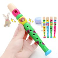Wholesale multi toy online - Wooden Flute Piccolos Children Clarinet Cartoon Holes Playing Instruments Early Education Multi Color fd F1