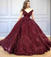 Wholesale burgundy elegant prom dresses resale online - Elegant Burgundy Off The Shoulder Sequins Quinceanera Dresses Spark Ruched Ball Gowns Floor Length Prom Party Princess Dresses BC1892