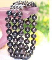 linda pulseira de pérola negra venda por atacado-BONITA 3 LINHA 9-10 MM rodada natural do mar do sul pulseira Pearl Pearl 7.5-8