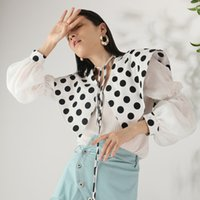 benzersiz yaka tasarım gömlek toptan satış-Benzersiz Tasarım Chic Abartılı Büyük Pelerin Yaka Fener Kollu Pileli Kadınlar Bluz Gömlek