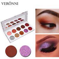 neutro glitter olho maquiagem venda por atacado-VERONNI Marca Matte Pigmento Paleta De Sombra De Glitter Nus Neutro Sombra de Olho Paletas de Maquiagem Conjunto Nudes Paleta de Maquiagem